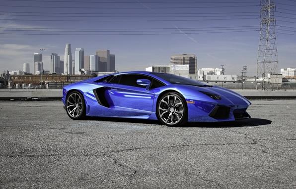 Picture asphalt, cracked, lamborghini, blue, aventador, lp700-4, Lamborghini, aventador