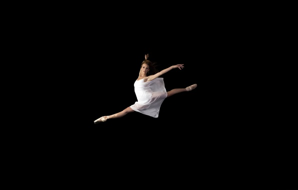 Picture look, girl, jump, dress, ballerina, Pointe shoes