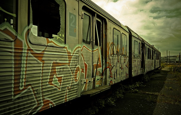 Picture graffiti, train, the car, train, wasteland, abandoned, graffiti