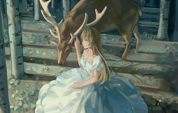 Picture girl, trees, nature, animal, anime, deer, art, horns, minami kotori, Love Live! School Idol Project, …