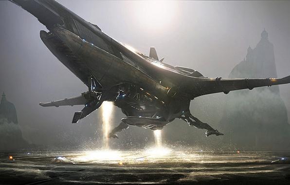Picture lights, start, Spaceship