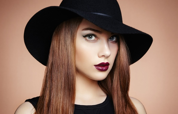 Picture look, girl, face, hat, makeup