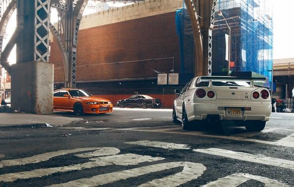 Picture Nissan, Orange, Nissan, GT-R, Car, Black, White, Skyline, R34, Skyline, R33, V-Spec