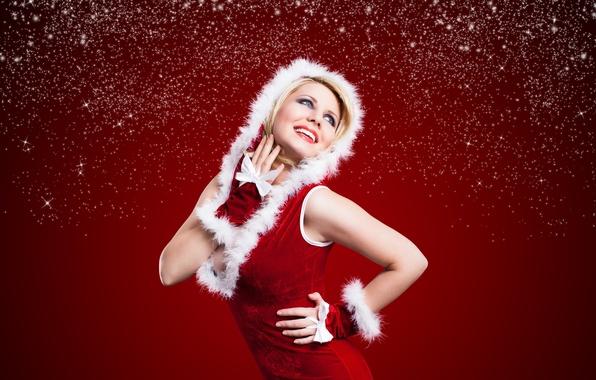Picture girl, snow, joy, blonde, gloves, maiden