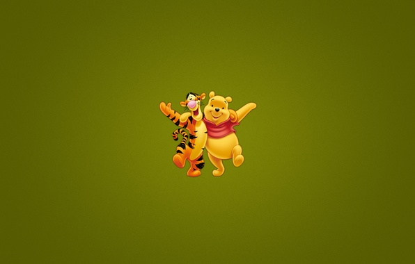 Picture minimalism, Winnie The Pooh, tiger, disney, the embrace, Winnie-the-Pooh, on the fun, tigger, darkish green …
