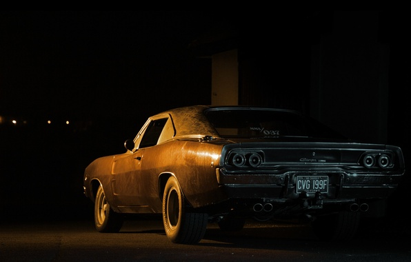 Picture black, dodge, night, charger, 1968, 70's, 60's, 2gen