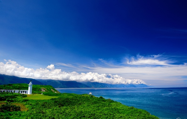 Picture sea, greens, clouds, hills, coast, lighthouse, buildings