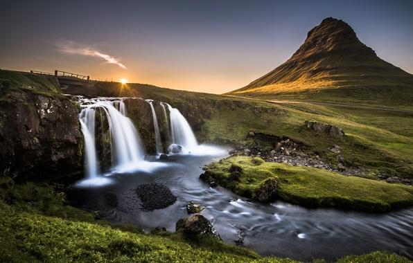 Picture bridge, nature, stones, mountain, waterfall
