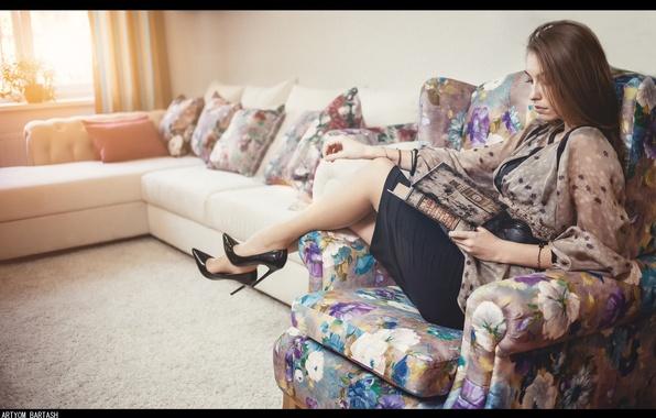 Picture girl, interior, chair, book, legs, sitting, photographer, reading, Artyom Bartash