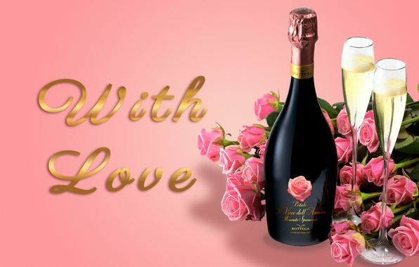 Picture roses, glasses, glass, champagne, flowers, romantic, Valentine's Day, roses, champagne