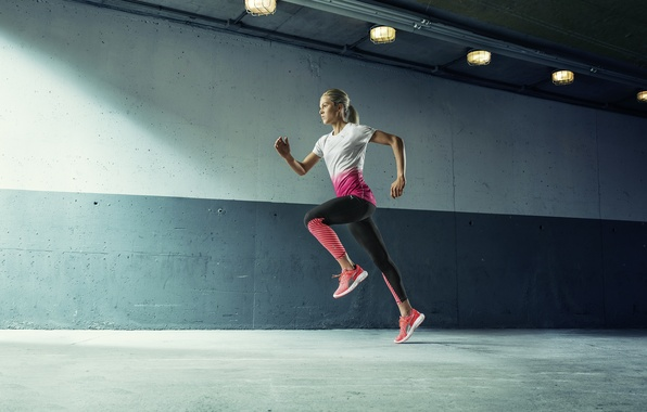 Picture woman, training, movement, running, trotting
