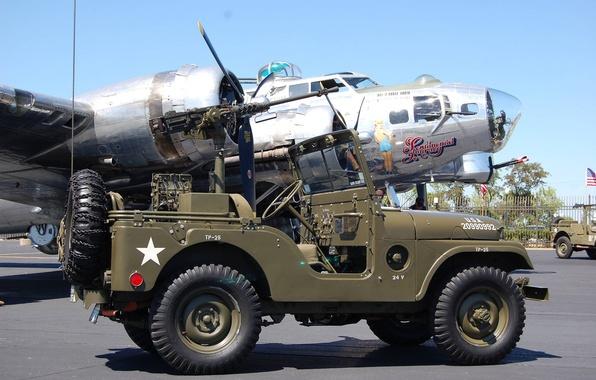 "Picture SUV, car, army, B-17G, 1955, Jeep, bombardirovshik, high, patency, ""jeep М38А1"", Willys M38A1"