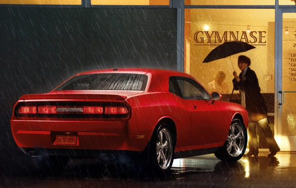 Picture red, rain, woman, umbrella, muscle car, Dodge, dodge, challenger, shop, Muscle car, chelenzher, r t