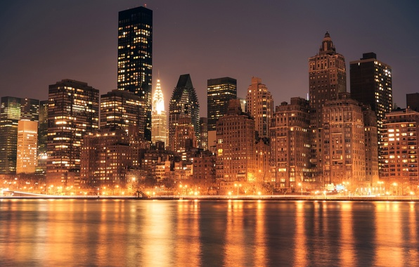 Picture water, light, the city, lights, glare, reflection, building, New York, skyscrapers, the evening, USA, USA, …