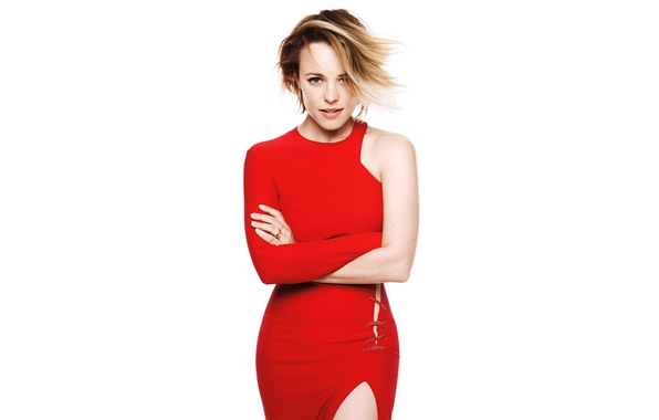 Picture look, pose, makeup, figure, dress, actress, hairstyle, white background, beauty, is, journal, in red, Rachel …