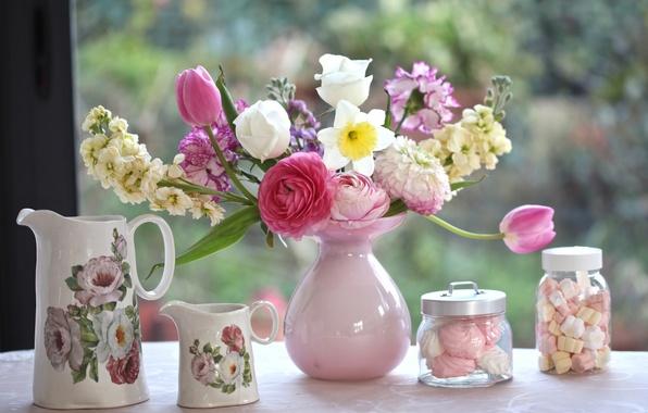 Picture bouquet, tulips, vase, Narcissus, marshmallows, Ranunculus, clove, pitchers, © Elena Di Guardo