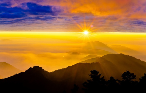 Picture the sky, landscape, sunset, mountains