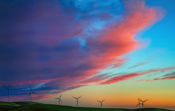 Picture field, summer, the sky, sunset, nature, windmills