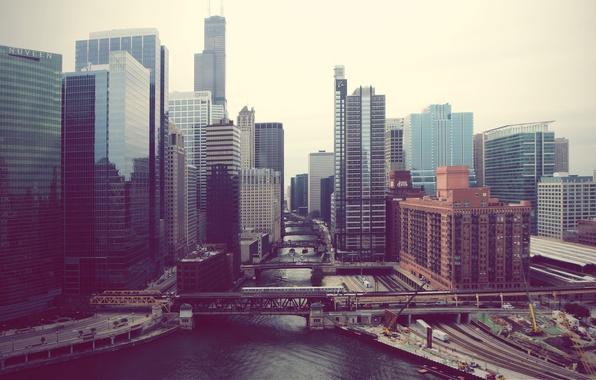 Picture the city, fog, river, skyscrapers, Chicago, Illinois