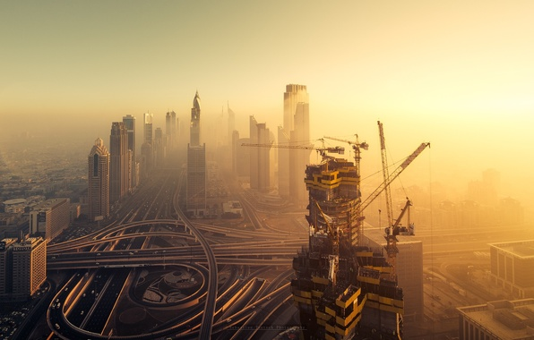 Picture construction, home, Dubai, UAE, cranes