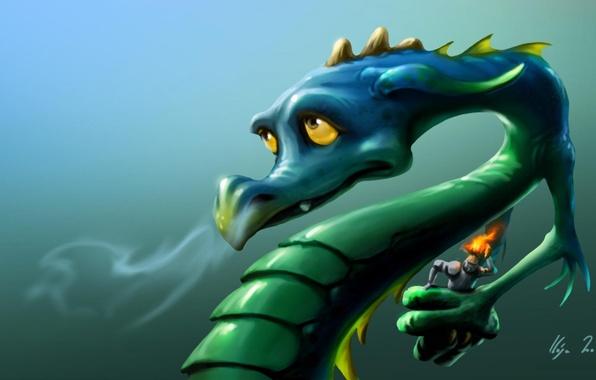 Picture look, face, green, fire, dragon, armor, art, helmet, knight, burns, Zsolt Kosa