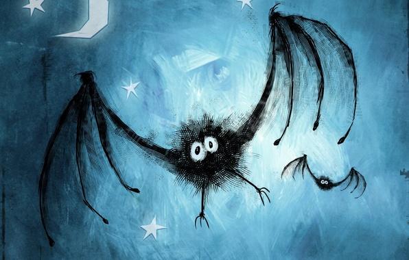 Picture blue, figure, Bat