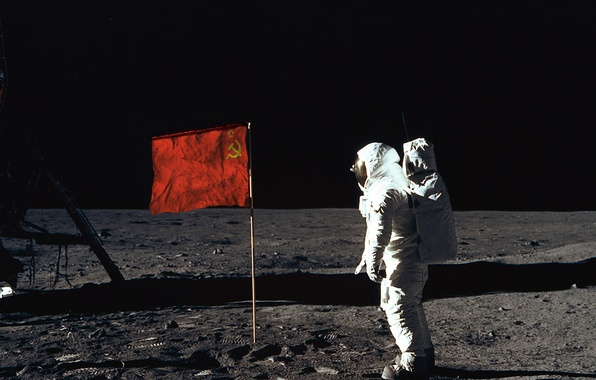 Picture the moon, people, astronaut, flag, USSR, on the moon, first