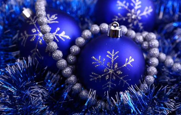 Picture blue, holiday, new year, silver, beads, new year, tinsel, snowflake, Christmas ball, brilliant