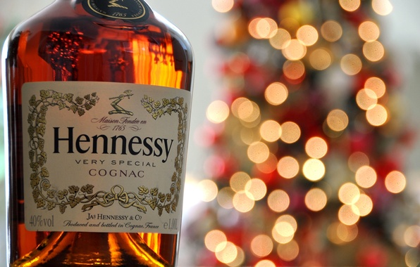Picture lights, bottle, cognac, bokeh, label, Hennessy