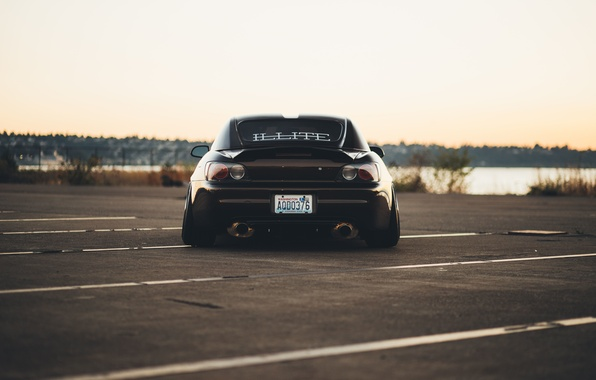 Picture sunset, lake, back, Parking, Honda, S2000, the exhaust gases