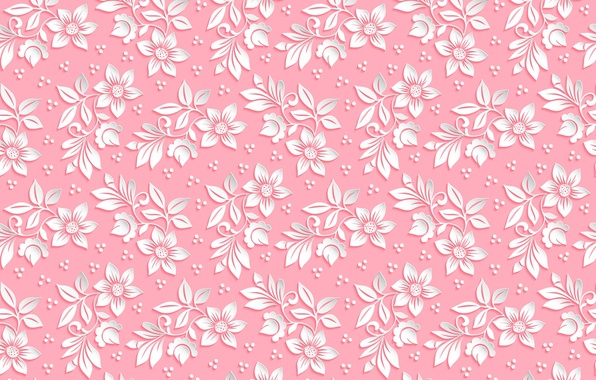 Picture flowers, background, pink, pattern, the volume