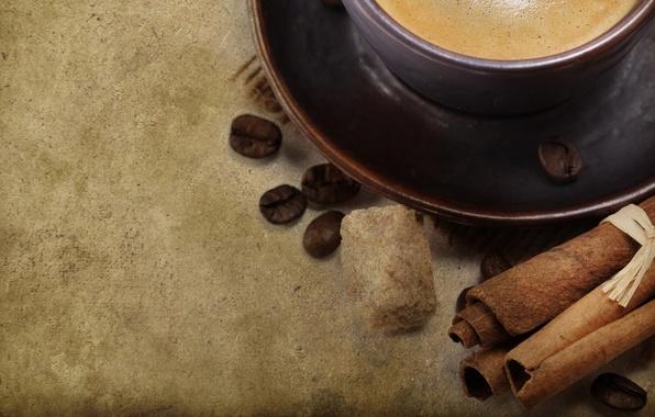 Picture background, coffee, grain, mug, Cup, sugar, cinnamon, saucer