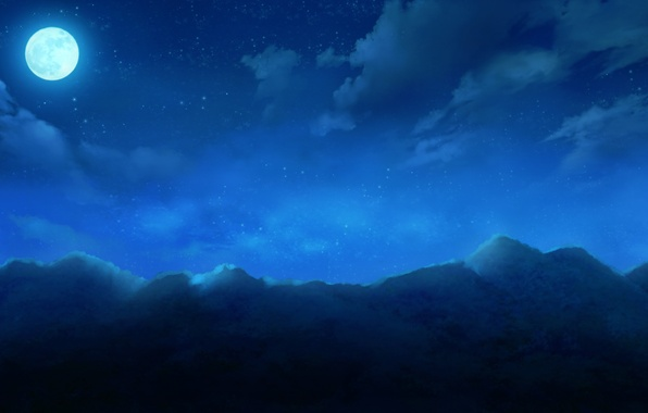 Picture the sky, clouds, mountains, night, nature, the moon, anime, art, cura, monobeno