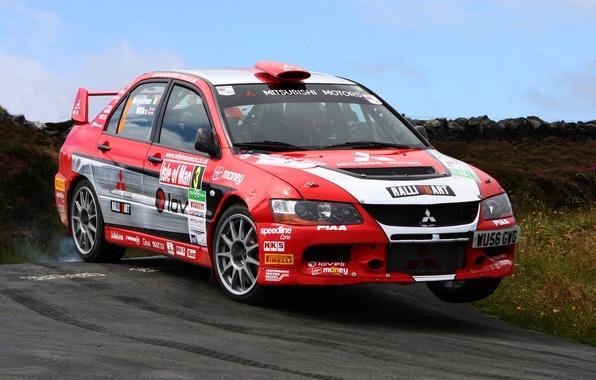 Picture red, Wheel, Machine, Mitsubishi, Mitsubishi, Red, Car, Evolution, rally, WRC, Evo