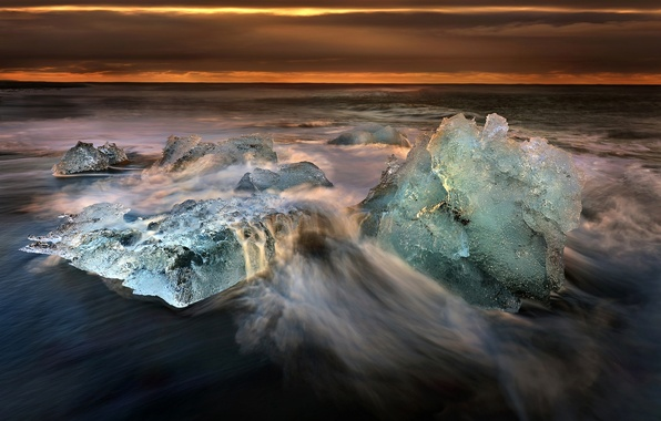 Picture sea, wave, sunset, ice