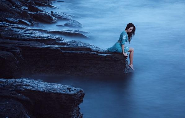 Picture Girl, Fog, Open, Rock, Dress, Blue