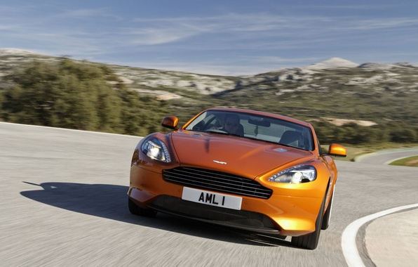 Picture road, the sky, landscape, mountains, Aston Martin, coupe, 1AML