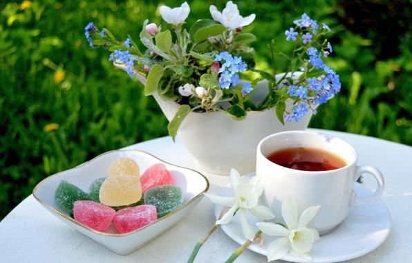 Picture flowers, tea, bouquet, Apple, forget-me-nots, Narcissus, marmalade