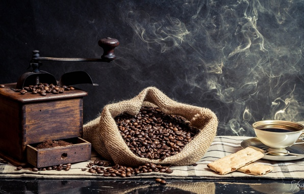 Picture coffee, Cup, coffee beans, coffee grinder