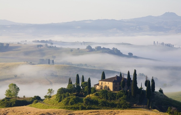 Picture landscape, nature, fog, hills, field, home, morning, Toscana