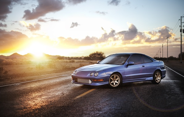 Picture the sky, blue, Honda, sedan, Honda, blue, Sedan, Acura, Acura, Integra, Integra