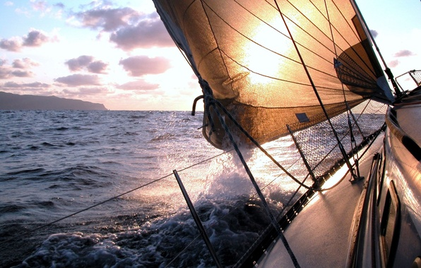 Picture sea, wave, the sky, foam, water, squirt, the ocean, the wind, widescreen, mood, boat, landscapes, ...