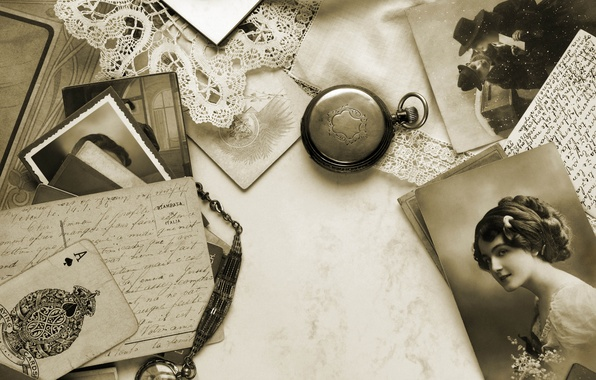Picture retro, background, watch, map, Sepia, photos, ACE, lace, vintage, Vintage, cards