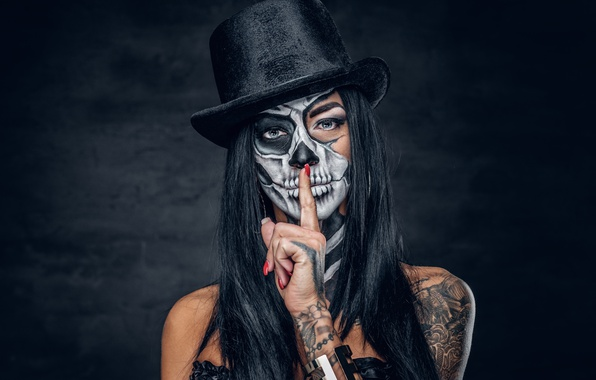Photo Wallpaper Hat Brunette Day Of The Dead Finger Makeup