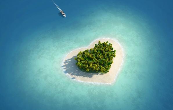 Picture sea, Islands, love, tropics, palm trees, heart, boat, Love island