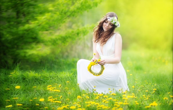 Picture girl, flowers, the wind, brown hair, dandelions, wreath