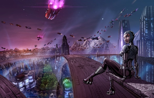 Picture girl, the city, future, transport, ships, art, megapolis