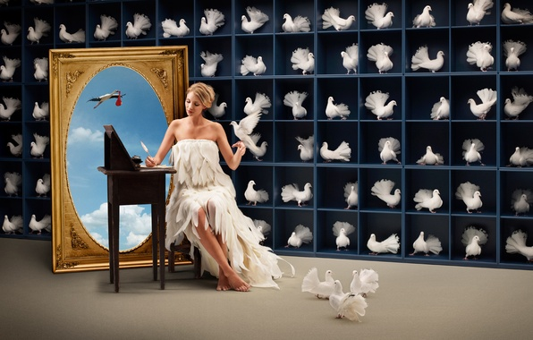 Picture girl, clouds, birds, picture, stork, pigeons, shelves, census, accounting, writes