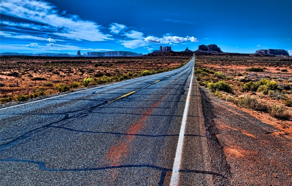 Picture road, the sky, clouds, mountains, nature, USA, Prairie, usa, monument valley, monuments