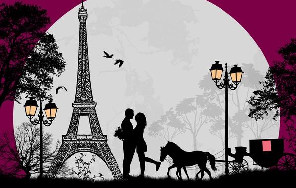 Picture trees, love, birds, romance, horse, Eiffel tower, love, cart, trees, birds, couple, pair, horse, romance, …